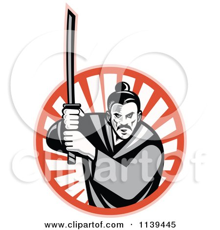 Clipart Of A Retro Grayscale Samurai Warrior And Katana Sword Over A Circle Of Rays - Royalty Free Vector Illustration by patrimonio