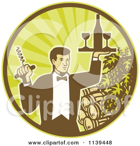 Clipart Of A Retro Waiter Carrying Wine And A Corkscrew In A Circle Of Rays Grapes And Barrels - Royalty Free Vector Illustration by patrimonio
