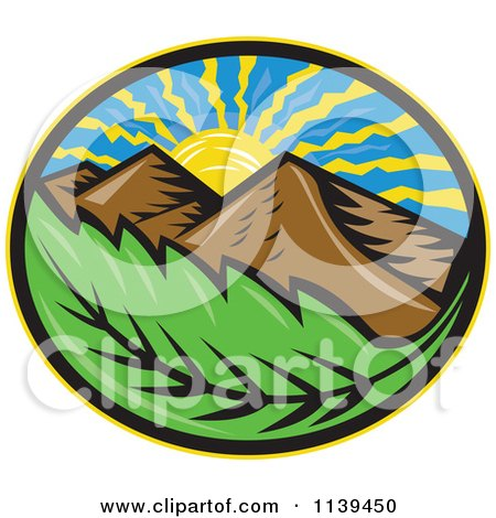 Clipart Of A Retro Oval Of The Sun Mountains And Leaf - Royalty Free Vector Illustration by patrimonio