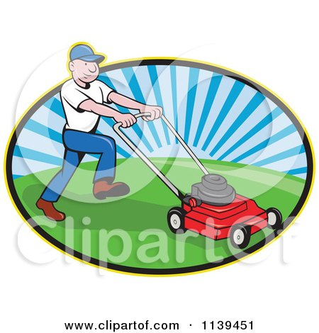 Clipart Of A Retro Landscaper Mowing A Lawn - Royalty Free Vector Illustration by patrimonio