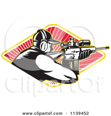 Clipart Of A Retro Hunter Shooting A Rifle In A Diamond Of Rays - Royalty Free Vector Illustration by patrimonio