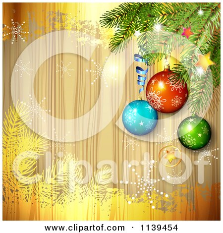 Clipart Of A Wood Christmas Background Of Baubles On A Tree Branch With Gold And Snowflakes - Royalty Free Vector Illustration by merlinul