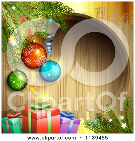 Clipart Of A Wood Christmas Background With Baubles Branches And Gifts 1 - Royalty Free Vector Illustration by merlinul