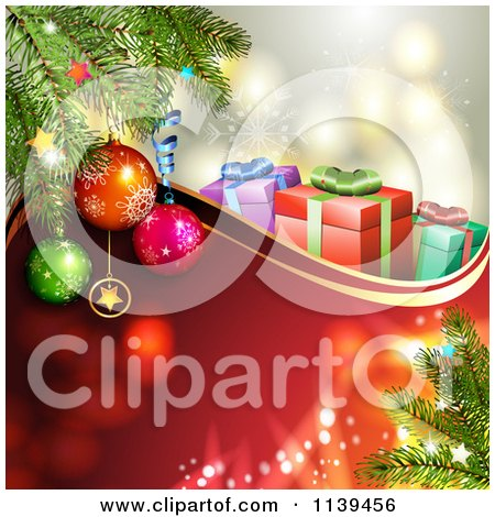 Clipart Of A Christmas Background Of Gifts And Branches Over Red 2 - Royalty Free Vector Illustration by merlinul