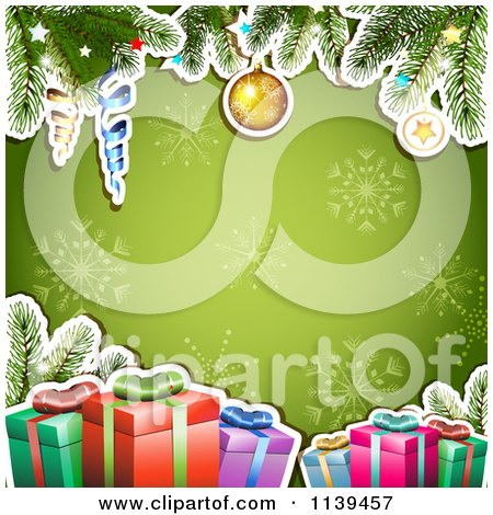 Clipart Of A Christmas Background Of Gifts And Branches Over Green Snowflakes - Royalty Free Vector Illustration by merlinul