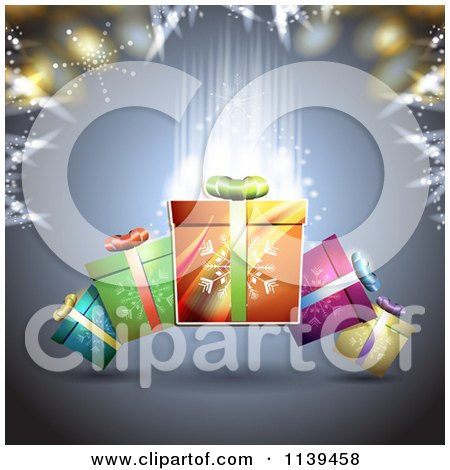 Clipart Of A Christmas Background Of Gifts And Glowing Lights 2 - Royalty Free Vector Illustration by merlinul