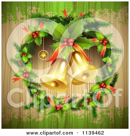Clipart Of A Wood Christmas Background With Jingle Bells A Holly Wreath And Green Grunge - Royalty Free Vector Illustration by merlinul