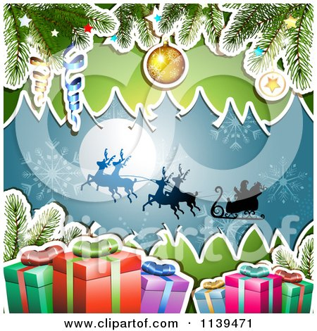 Clipart Of A Christmas Background Of Santas Sleigh Gifts And Branches Over Blue 2 - Royalty Free Vector Illustration by merlinul