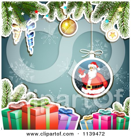 Clipart Of A Christmas Background Of Santa Gifts And Branches Over Blue - Royalty Free Vector Illustration by merlinul