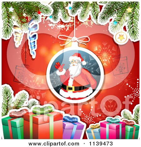 Clipart Of A Christmas Background Of Santa Gifts And Branches Over Red 1 - Royalty Free Vector Illustration by merlinul