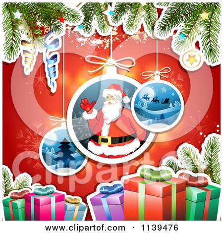 Clipart Of A Christmas Background Of Santa Gifts And Branches Over Red 2 - Royalty Free Vector Illustration by merlinul