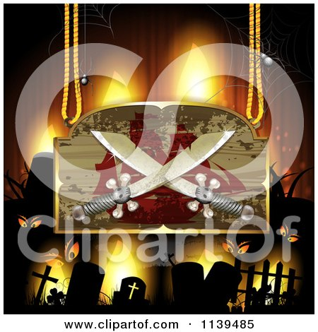 Clipart Of A Pirate Ship And Crossed Sword Sign Over A Cemetery With Creepy Eyes - Royalty Free Vector Illustration by merlinul