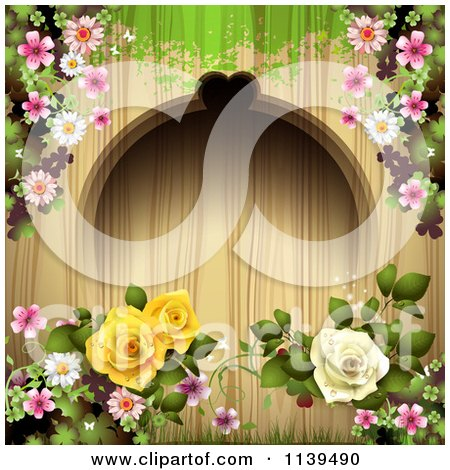 Clipart Of A Wood Background With Roses And Green Grunge 2 - Royalty Free Vector Illustration by merlinul