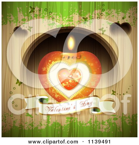 Clipart Of A Valentines Day Heart Candle And Banner Over Wood With Green Grunge - Royalty Free Vector Illustration by merlinul