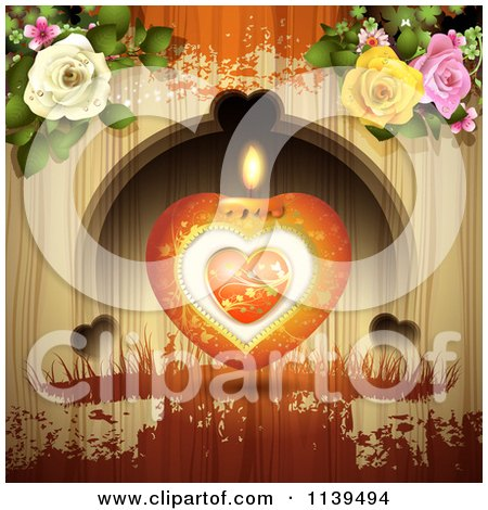 Clipart Of A Valentines Day Heart Candle And Roses Over Wood With Orange Grunge - Royalty Free Vector Illustration by merlinul