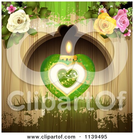 Clipart Of A Green Valentines Day Heart Candle And Roses Over Wood With Green Grunge - Royalty Free Vector Illustration by merlinul