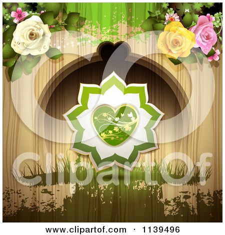 Clipart Of A Valentines Day Heart And Roses Over Wood With Green Grunge - Royalty Free Vector Illustration by merlinul