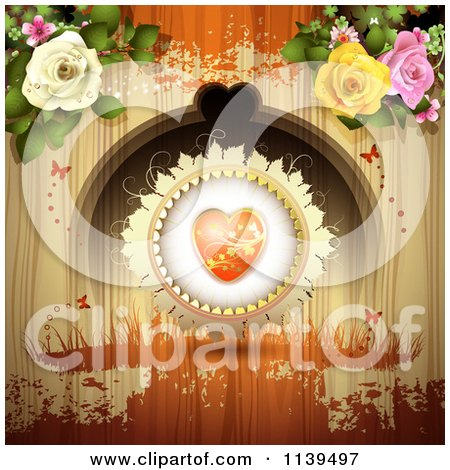 Clipart Of A Valentines Day Heart And Roses Over Wood With Orange Grunge - Royalty Free Vector Illustration by merlinul