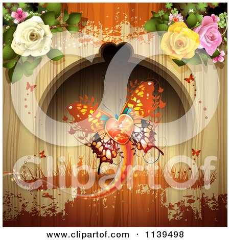 Clipart Of A Valentines Day Heart Butterfly And Roses Over Wood With Orange Grunge - Royalty Free Vector Illustration by merlinul