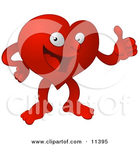 Red Heart Character Giving the Thumbs up Clipart Illustration by AtStockIllustration