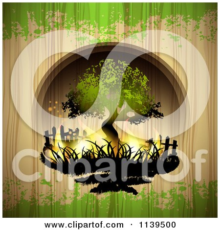 Clipart Of A Burning Tree Over Wood With Green Grunge - Royalty Free Vector Illustration by merlinul