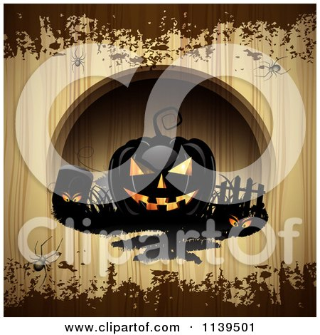 Clipart Of Black Halloween Jackolantern Pumpkins Over Wood With Brown Grunge - Royalty Free Vector Illustration by merlinul