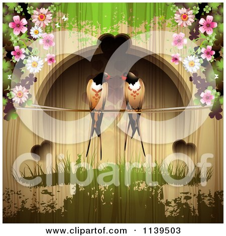 Clipart Of Love Birds And Hearts With Blossoms Over Wood With Green Grunge - Royalty Free Vector Illustration by merlinul