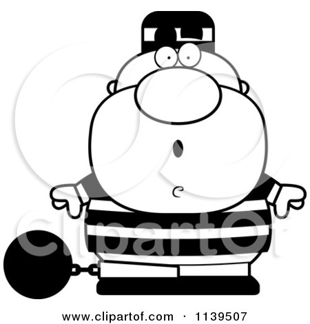 Cartoon Clipart Of A Black And White Shocked Prisoner With A Ball And Chain - Vector Outlined Coloring Page by Cory Thoman