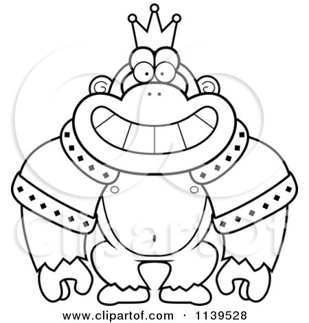 Cartoon Clipart Of A Black And White King Gorilla Wearing A Crown And ...