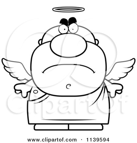 Cartoon Clipart Of A Black And White Mad Angel Man - Vector Outlined Coloring Page by Cory Thoman