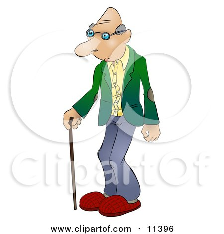 Senior Man Using a Cane Clipart Illustration by AtStockIllustration