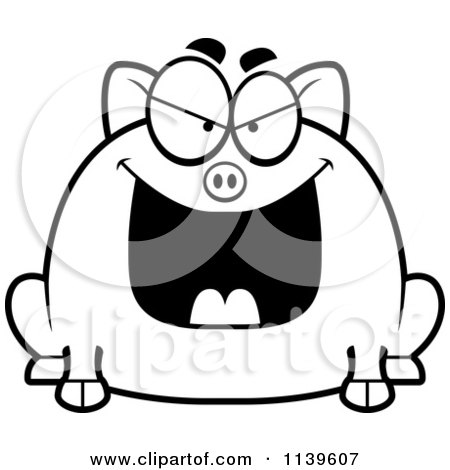 Cartoon Clipart Of A Black And White Chubby Evil Pig ...
