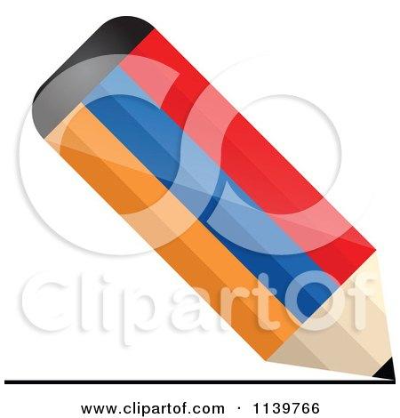 Clipart Of 3d Writing Armenian Flag Pencil - Royalty Free Vector Illustration by Andrei Marincas