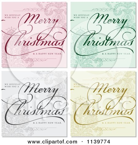 Clipart Of Merry Christmas And Happy New Year Greetings Over Ornate Backgrounds - Royalty Free Vector Illustration by BestVector