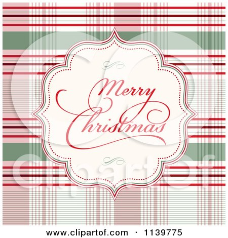 Clipart Of A Merry Christmas Greeting Frame Over Plaid - Royalty Free Vector Illustration by BestVector
