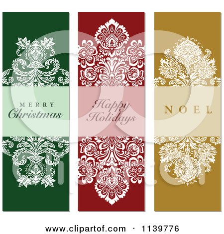 Clipart Of Green Red And Gold Ornate Damask Christmas Greetings - Royalty Free Vector Illustration by BestVector