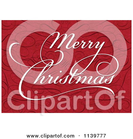 Clipart Of White Merry Christmas Greeting Text On Red With Swirls - Royalty Free Vector Illustration by BestVector