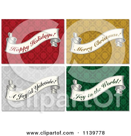 Clipart Of Vintage Christmas Greeting Banner Scrolls On Damask Patterns - Royalty Free Vector Illustration by BestVector