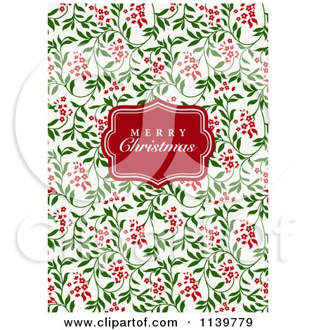 Clipart Of A Red Merry Christmas Greeting Frame Over Red And Green Vines - Royalty Free Vector Illustration by BestVector