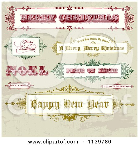 Clipart Of Retro Christmas And New Year Greeting Banners And Signs On Grunge - Royalty Free Vector Illustration by BestVector