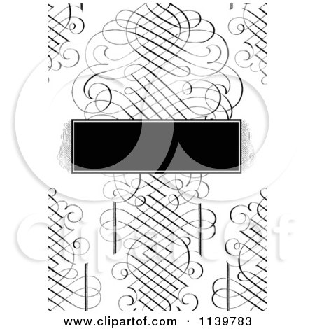 Clipart Of A Ornate Black And White Swirl Wedding Invitation Background With A Frame - Royalty Free Vector Illustration by BestVector
