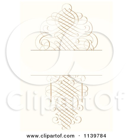 Clipart Of An Ornate Golden Swirl Wedding Invitation Background - Royalty Free Vector Illustration by BestVector
