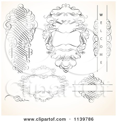 Clipart Of Ornate Vintage Victorian Swirl Designs And Frames - Royalty Free Vector Illustration by BestVector