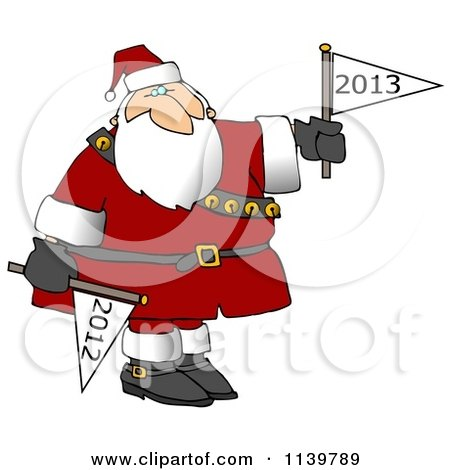 Cartoon Of Santa Putting Down A Year 2012 Flag And Holding Up A Year 2013 Flag - Royalty Free Clipart by djart