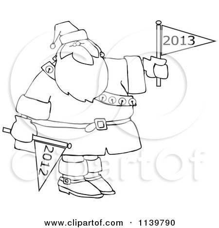 Cartoon Of An Outlined Santa Holding Up A New Year 2013 Flag And Down 2012 - Royalty Free Vector Clipart by djart
