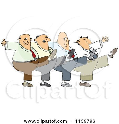 Cartoon Of A Chorus Line Of Men Dancing The Can Can - Royalty Free Vector Clipart by djart