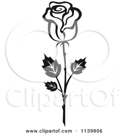 Clipart Of A Black And White Rose Flower 18 - Royalty Free Vector Illustration by Vector Tradition SM