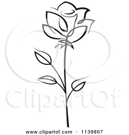 Clipart Of A Black And White Rose Flower 17 - Royalty Free Vector Illustration by Vector Tradition SM