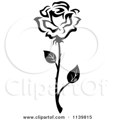 Free Flower Picture on Clipart Of A Black And White Rose Flower 26   Royalty Free Vector