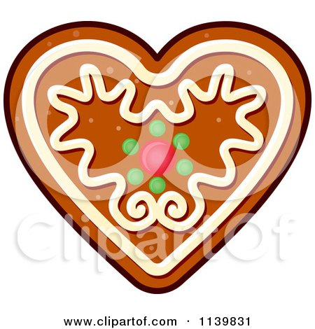 Clipart Of A Heart Gingerbread Christmas Cookie - Royalty Free Vector Illustration by Vector Tradition SM